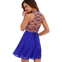 Berydress Royal Blue Cross Lace Up Backless Spaghetti Strap Short Skater Dress Women A Line Mini