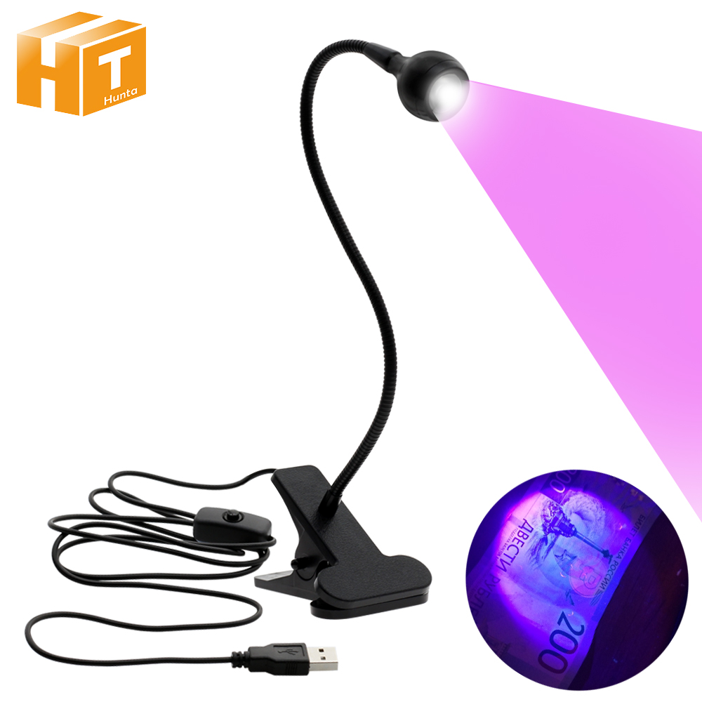 UV LED Clip Lamp USB Power Supply Money Detect Light Scorpion UV Light Ultra Violet Light For Pet Urine Stains Detector.