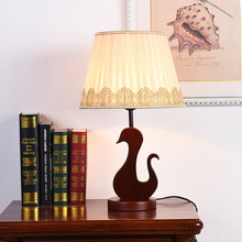 Modern Chinese style retro Solid wood table lamp bedroom bedside Living room Room reading decoration hotel engineering desk lamp(China)