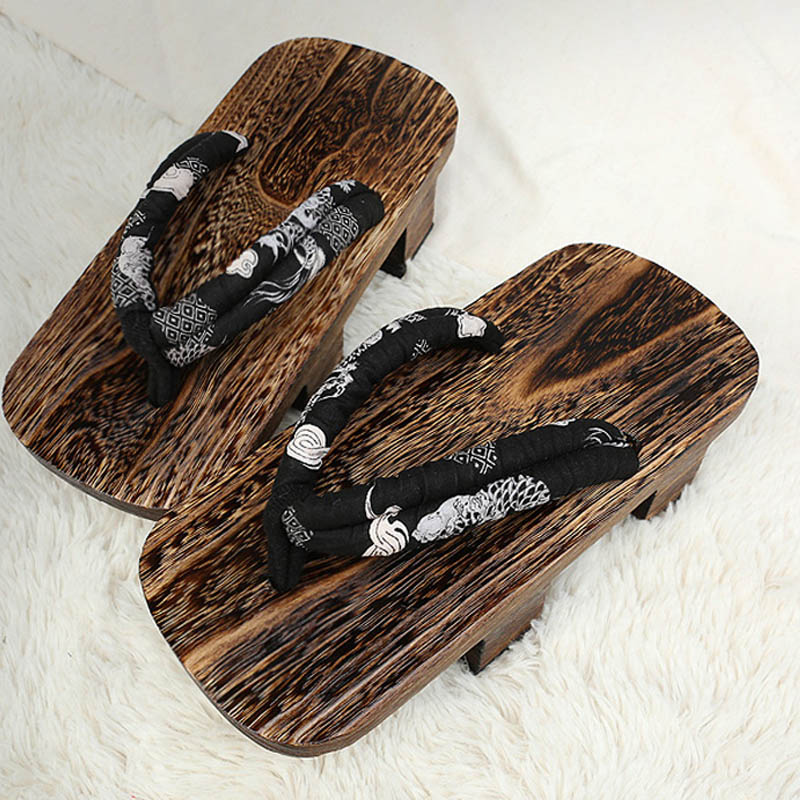 Cosoorld The King Of Fighters Gorodaimon Cosplay Bite Clogs Wooden Shoes High Heels Fashion Sandals With Socks For Summer (3)