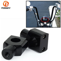 POSSBAY 25MM 1'' Motorcycle Handlebar Bar Riser Mount Clamp Bolt Billet Black Universal for Kawasaki Yamaha Harley Scooter Clamp