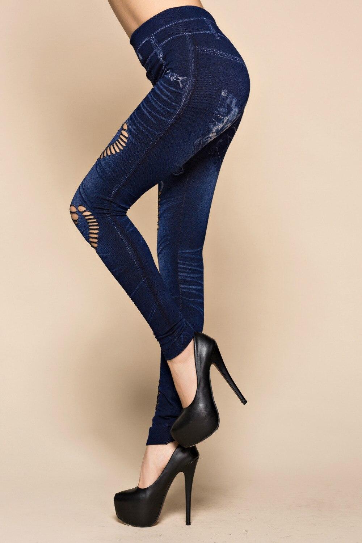 Fashion Slim Women Leggings Faux Denim Jeans Leggings Sexy Hole Heart Printing Casual Women Clothing Pencil Pants Plus Size #3