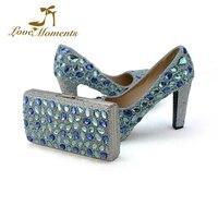 2018 синий кристалл свадебные туфли с муфтой коренастый пятки Rhinestone туфли лодочки для вечеринок Золушка туфли на высоком каблуке для выпускн