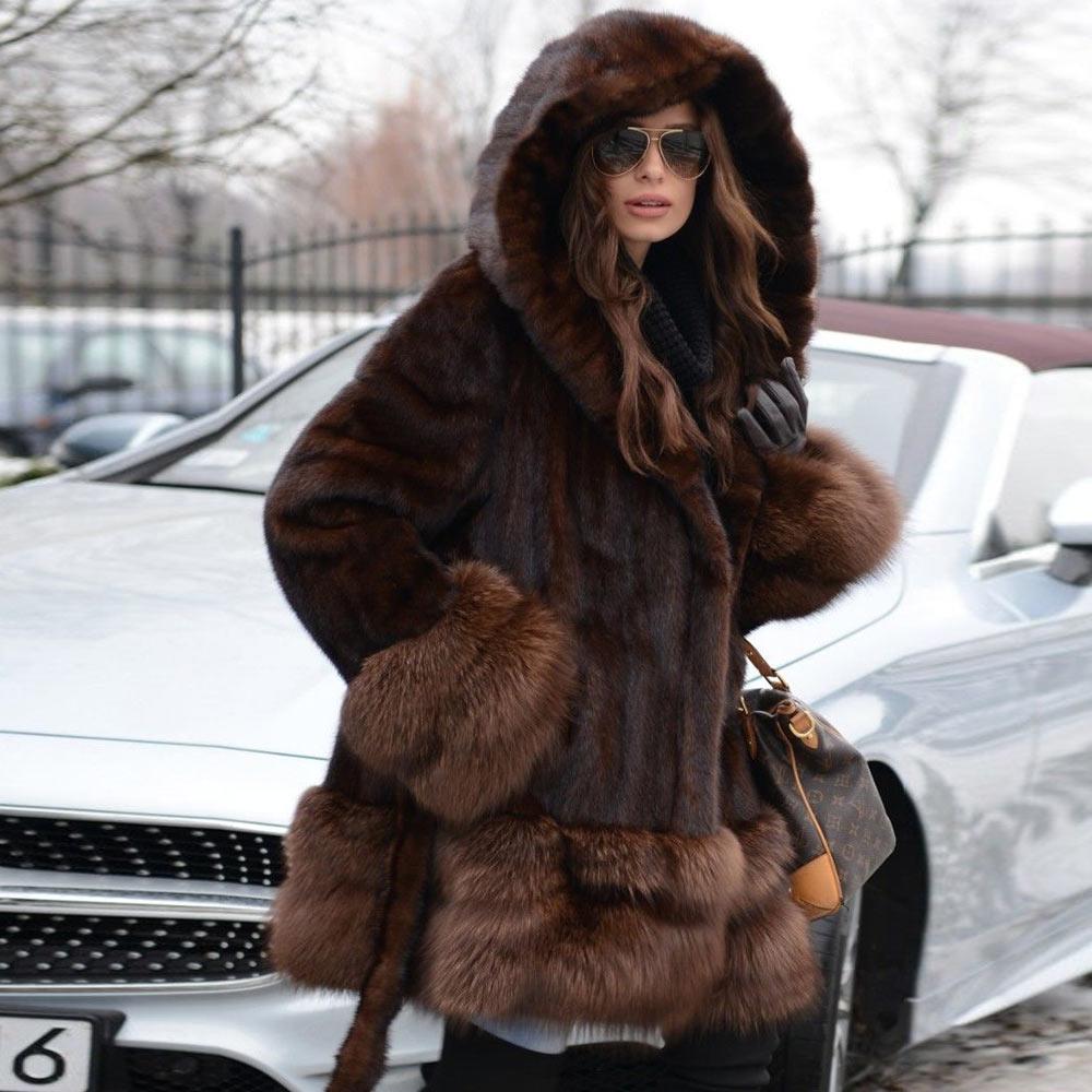 New Real Mink Fur Coat With Hood Genuine Mink Fur  For Women's Coats Natural Fox Cuff and Hem Warm Winter luxury coats Woman
