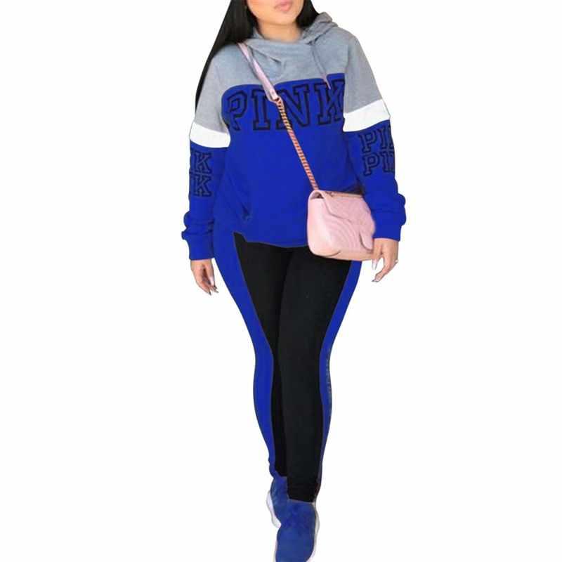 Musim Dingin Wanita Huruf Merah Muda Cocok untuk Baju Olahraga Wanita 2019 Lengan Panjang Hoodies Kaus dan Celana Panjang Dua Sepotong Set Wanita