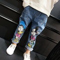 Spring Kids Jeans Cartoon Lovely Mouse Denim Pants For Baby Boys Girls Kids Trousers Elastic Waist Pants Children's Clothes