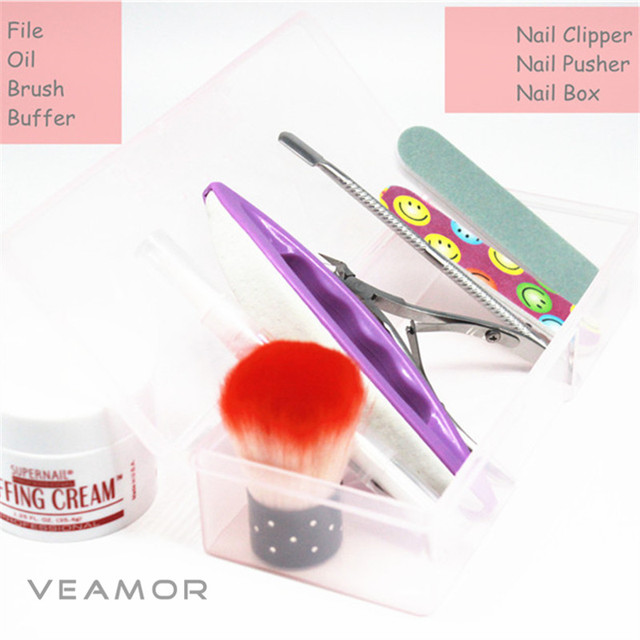 9pcs Set Chamois Buffer And Buffing Cream Nail Brush Cuticle Clipper Pusher Remover