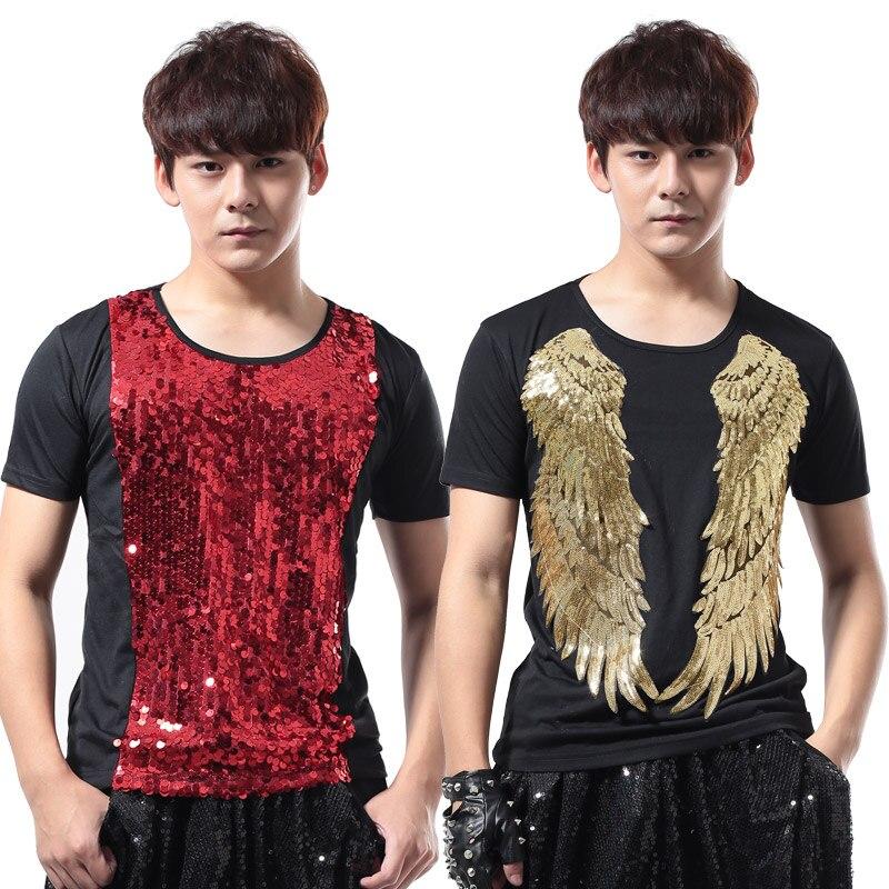 2016 Summer New Men's Slim Paillette short-sleeve T-shirt Nightclub Male singer Performance wear  men's clothing dj ds costume