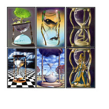 Diy 5d diamond painting time funnel round mosaic picture embroidery pattern handmade childrens gifts