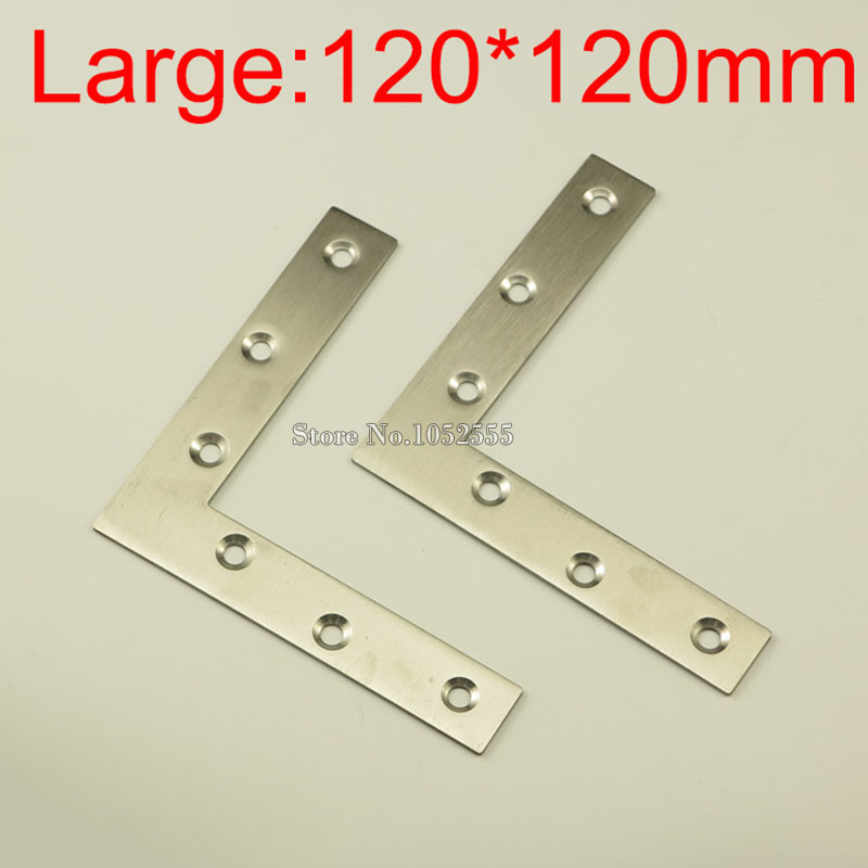100pcs 120*120*22mm Stainless Steel L Shape Furniture Corner Brackets Right Angle Connector Mounting Bracket Protector K225 10 pcs lot silver color metal corner brace right angle l shape bracket 20mm x 20mm home office furniture decoration accessories
