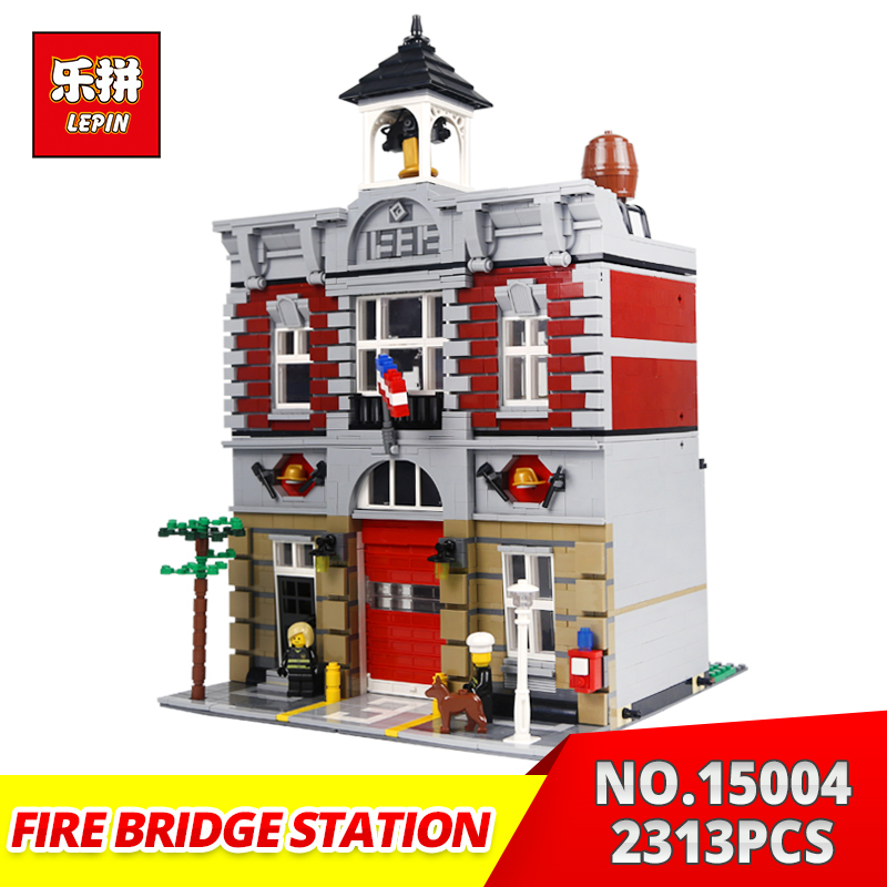 Lepin Building Bricks City Street 15004 2313Pcs Fire Brigade station Model Building Blocks Toy Gift Compatible 10197 lepin 15009 city street pet shop model building kid blocks bricks assembling toys compatible 10218 educational toy funny gift