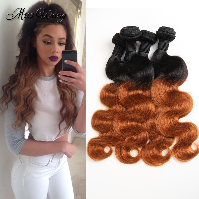 Ali Moda 4 Bundles Rosa Hair Products Brazilian Virgin Body Wave 1B/30 Ombre Two Tone Extensions