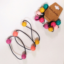 Fashion 5PCS/1Set Round Ball Hair Rope Children Rubber band  For Girls Candy Color Kids Tie Elastic