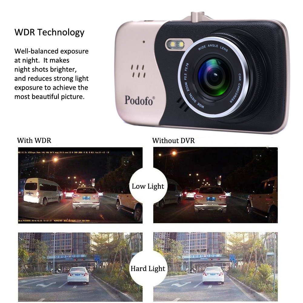 Image 4 - Podofo Novatek 96658 4.0 Inch IPS Screen Dual Lens Car DVR Camera Full HD 1080P Vehicle Video Recorder Dash Cam-in DVR/Dash Camera from Automobiles & Motorcycles