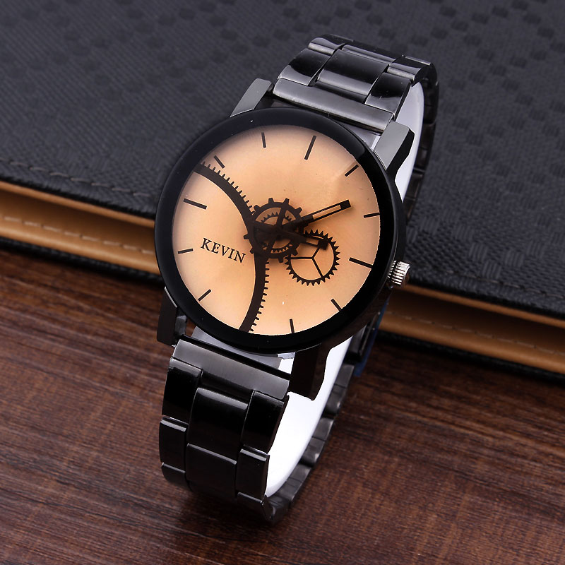 New 2016 Design Men Watches Fashion Gears Beige Round Dial Stainless Steel Band Quartz Wrist Women Watch Gifts Relogios Feminino