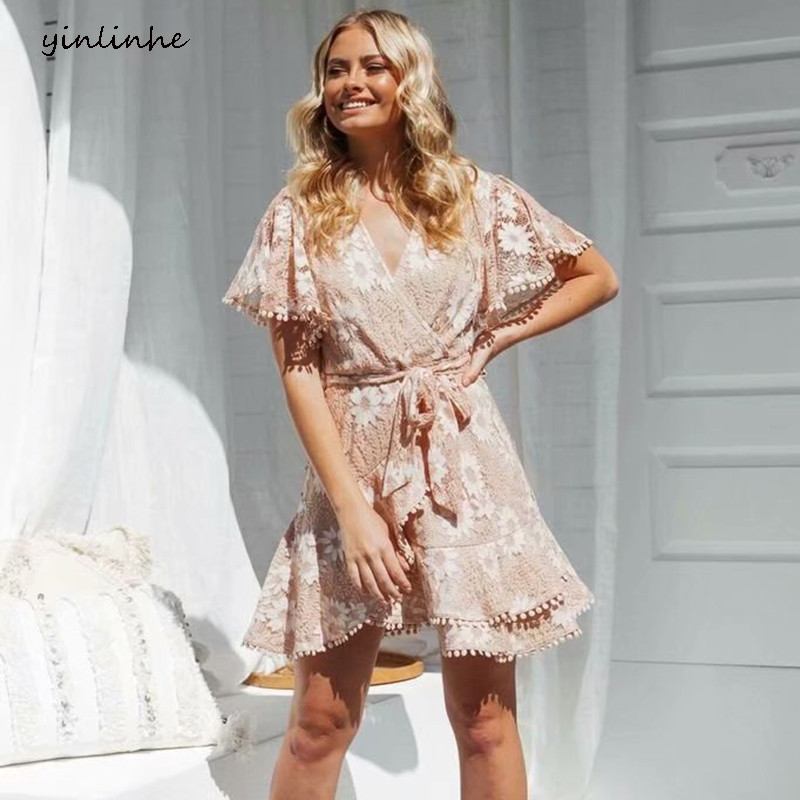 Yinlinhe Khaki Floral Lace Dress Women Chic Short Sleeve V