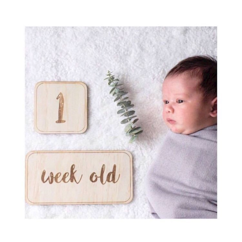 Nordic Style Wooden Baby Birthday Memorial Milestone Card Newborns Photography Props Accessories Photo Shoot Toys For Children(China)