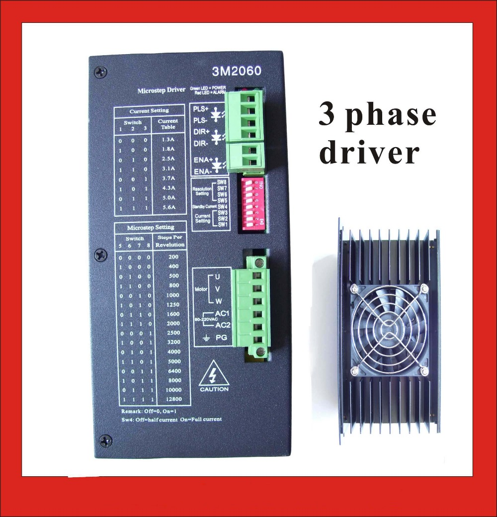 3 Phase Stepper Motor Driver 3M2060 For NEMA 34 42 51 Stepper Motor with 80-220VAC Input Output 1.3A-5.6A