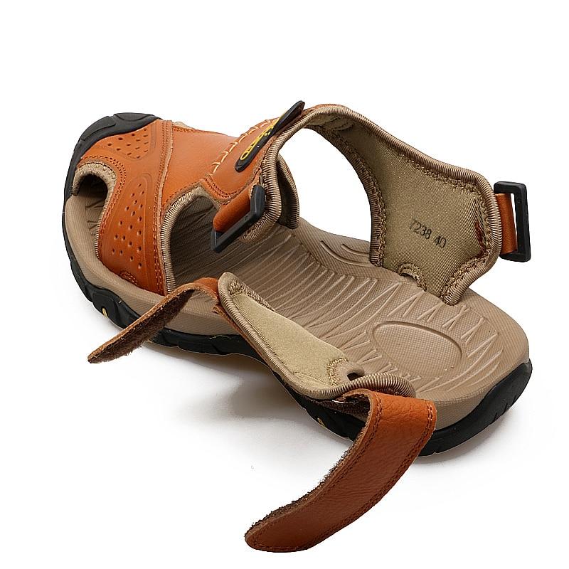 Valstone pria Sandal kulit asli Mewah musim panas sandal kulit alami - Sepatu Pria - Foto 4
