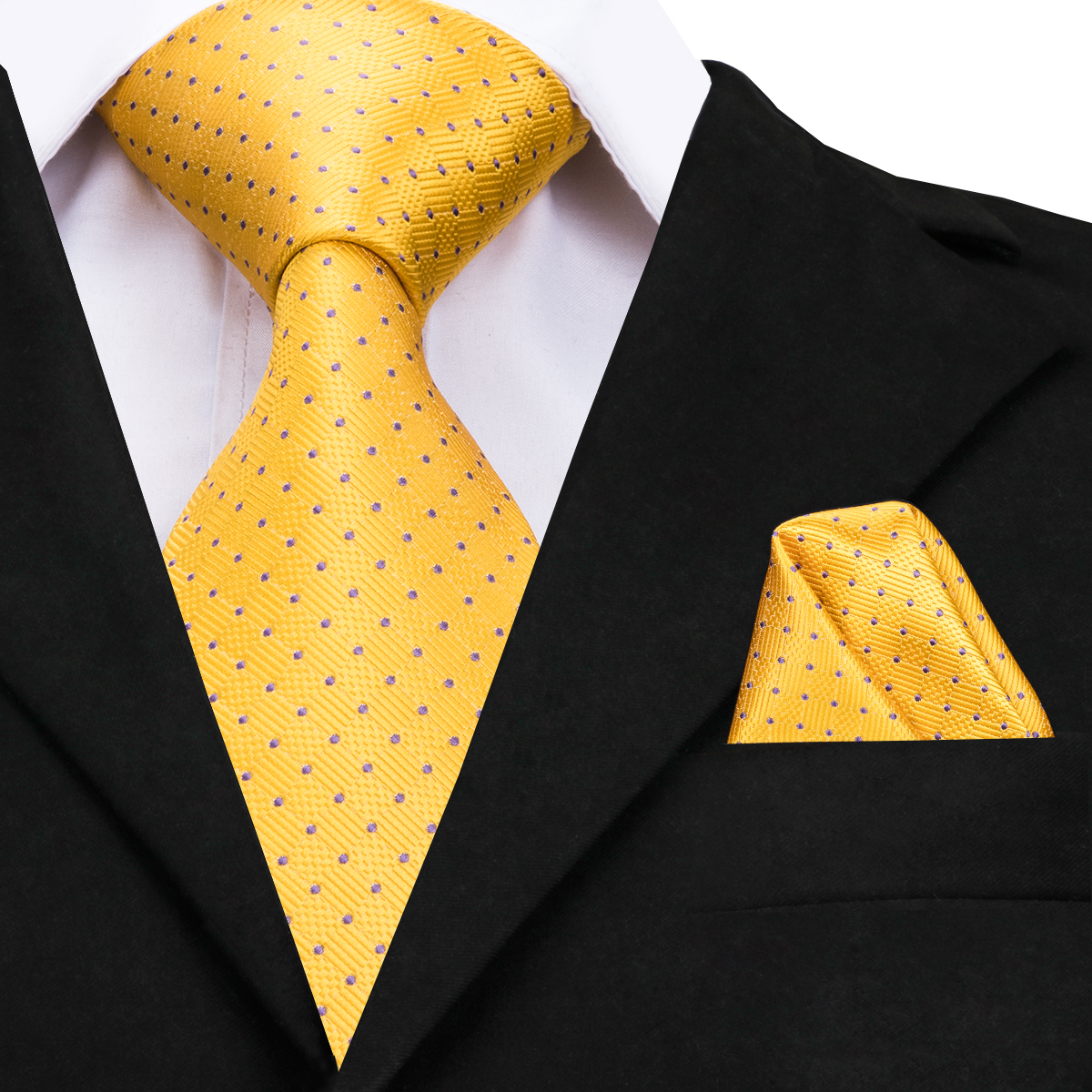 Hi-Tie Gold Silk Tie 2018 New Designer Yellow Dots Large Ties For Men High Quality Hand Jacquard Woven Neck Tie 160cm CZ-009