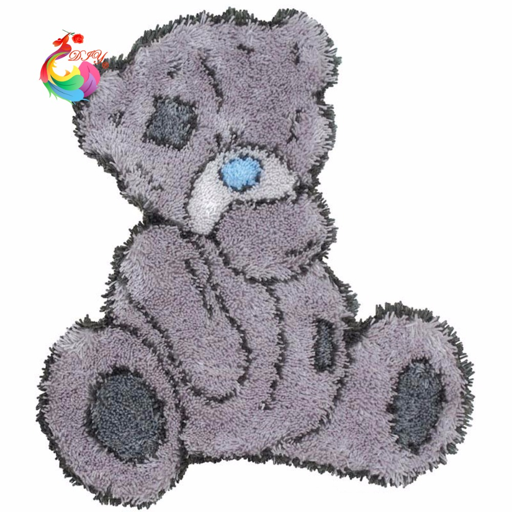 Us 16 49 45 Off Cross Sch Needlework Thread Counted Embroidery Kits Embroidered Carpet Mats Latch Hook Rug Cute Bear Hobby In