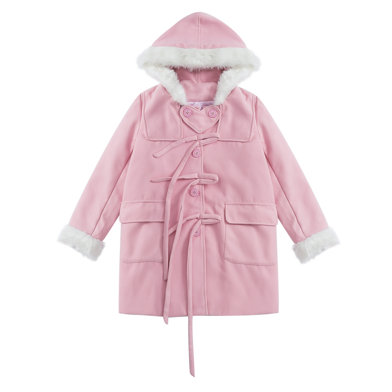 Spring New Winter Women Wool Blend Coat Hooded Faux Fur Collar Kawaii Sweet Long Woolen Coat