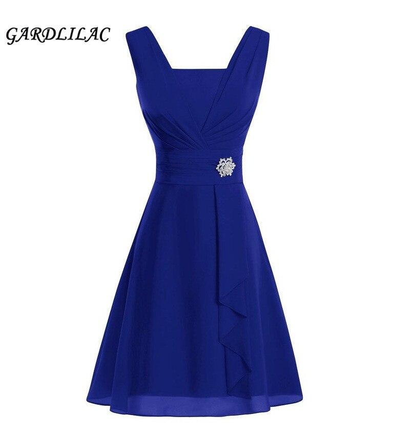 Simple Short   Prom     Dress   2018 Women Royal Blue bridesmaid   dresses   Chiffon Evening   Prom   Party   Dresses   Short Evening Gowns G043