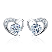 Wholesale 30% silver plated romantic love heart shiny crystal ladies`stud earrings jewelry female Anti allergy drop shipping