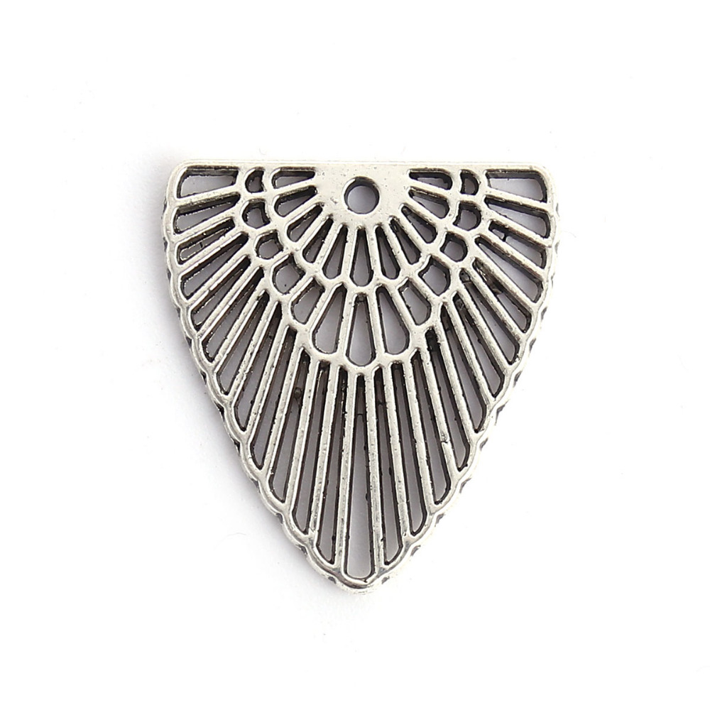 DoreenBeads Zinc Based Alloy Antique Silver Boho Chic Charms Triangle Stripe DIY Components 22mm( 7/8) x 20mm( 6/8), 50 PCs