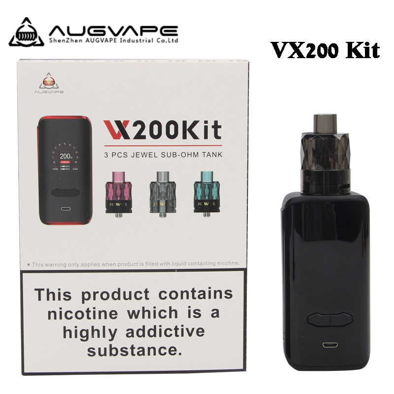 Оригинальный AUGVAPE VX200 комплект TC Box MOD 200 Вт с 3 шт одноразовые драгоценный камень Subohm бак 1,3 дюймов Экран электронная сигарета