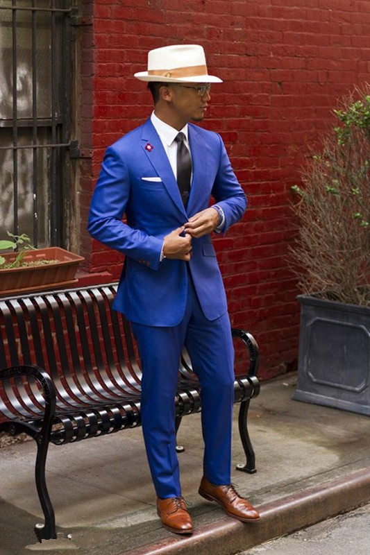 Classic Royal Blue Groom Tuxedos Cheap Slim Fit Notched Lapel 2019 Vintage Wedding Prom Suits Men's Suit (jacket + Pants + tie)