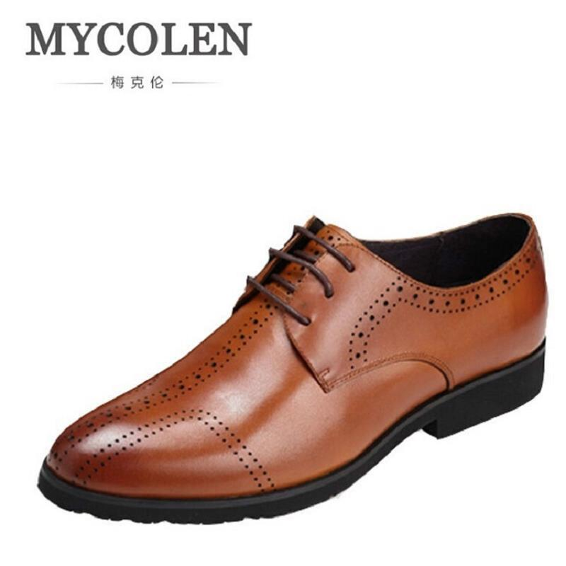 MYCOLEN Handmade Mens Dress Shoes Genuine Leather High Quality Italian Wedding Men Shoes Business British Black Footwear top quality crocodile grain black oxfords mens dress shoes genuine leather business shoes mens formal wedding shoes