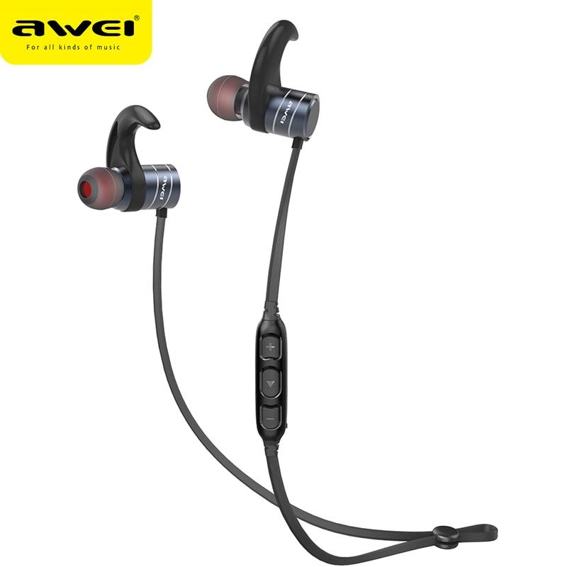 AWEI AK1 Bluetooth Kopfhörer Drahtlose Kopfhörer Schnurloses Headset Sport Ohrhörer Stereo Headfone Für Telefon Kulakl k Mit Magnet
