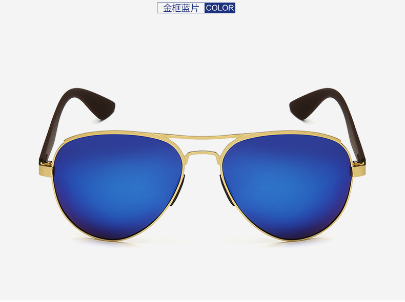 Custom Made Nearsighted Minus Prescription Blue coating polarized sunglasses AL MG alloy gold frame UV400 1