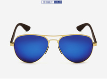 Custom Made Nearsighted Minus Prescription Blue coating polarized sunglasses AL-MG alloy gold frame UV400 -1 -1.5 -1.75 -2 to -6