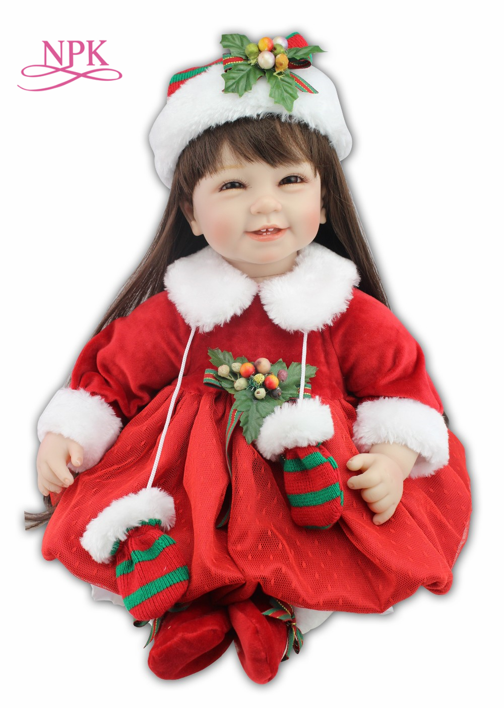 NPK lifelike reborn toddler doll with Christmas hat and Red skirt fashion doll girl s gift