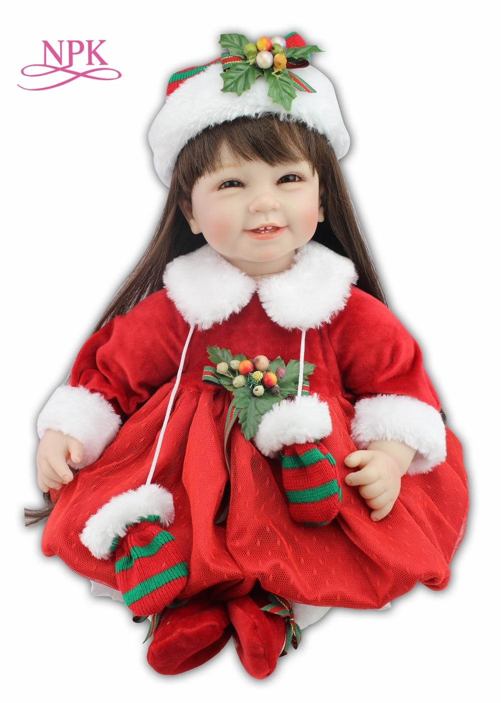 NPK Реалистичного reborn малышей Кукла с Рождеством шляпу и красная юбка кукла подарок девушки 2017 Новый дизайн горячая распродажа
