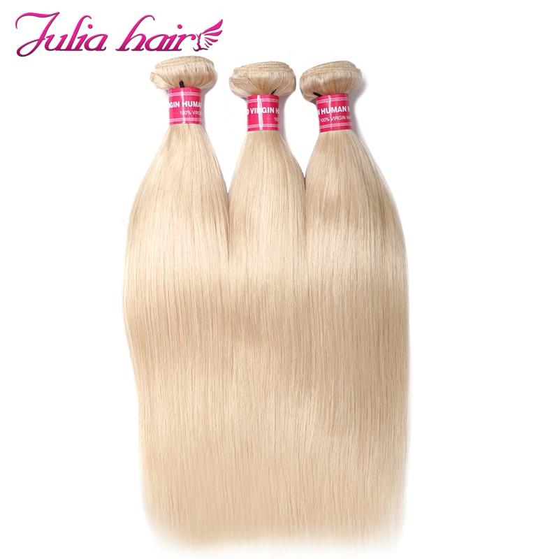 Ali Julia Hair Color 613 Bundles Brazilian Straight Human Hair Bundles Blonde Double Weft Weave Remy