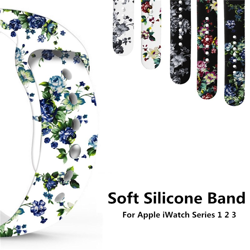 Color Print Flowers Soft Silicone Strap For Apple Watch Band iWatch 42mm 38mm Fashion Bracelet Rubber Replace Wrist Watch Bands fashion jeremy lin style in jesus name i play silicone energy bands bracelet white