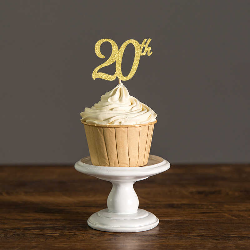 20th Cupcake ToppersGold Silver Black Glitter Food Picks For Twenty Birthday Party