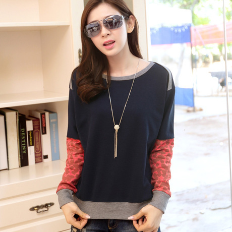 f443aaa81 autumn style fashion Patchwork full sleeve t shirt women casual loose plus  size tops tees women s clothing cotton bottom t-shirt
