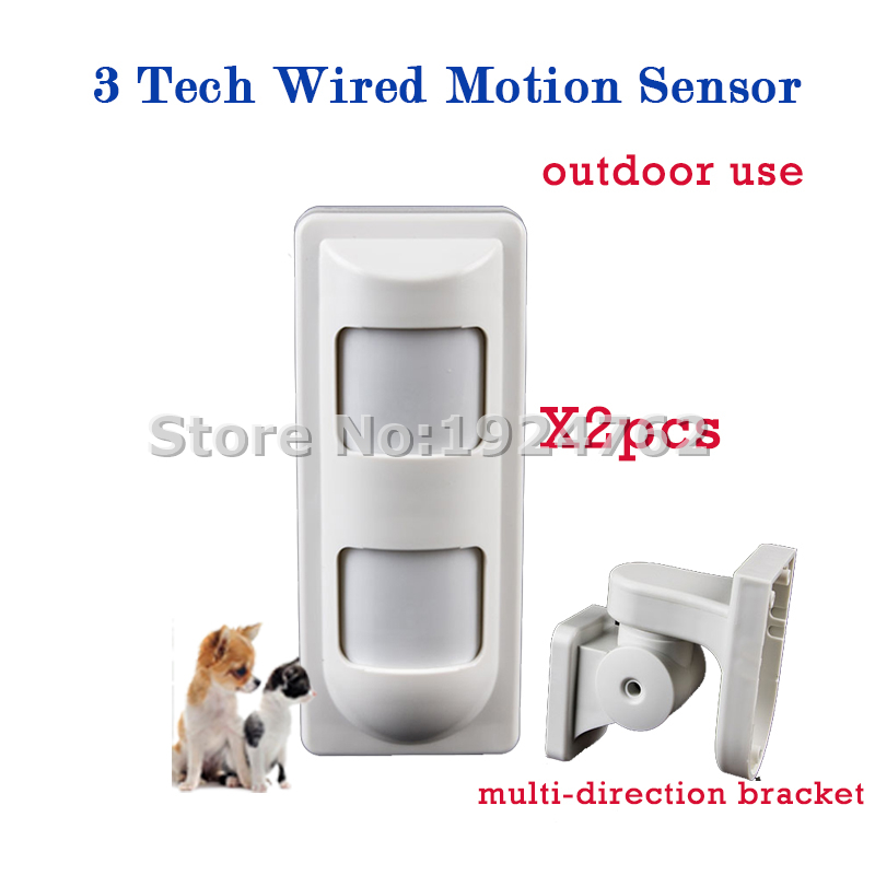 ФОТО 2 piece Pet Friendly Wired Outdoor Pet Motion Sensor 3 Tech Alarm PIR Detector for Home Burglar Alarm System,Free Shipping