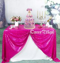50inch By 80inch Fuchsia Sequin Table Cloth Sequin TableCloth Sequin Linens  Sparkly Sequin Overlays(China