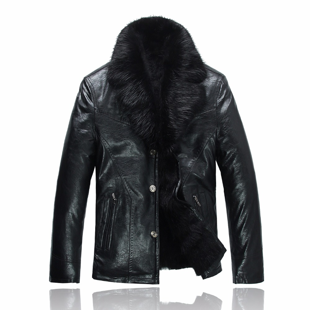 2017 Men's Leather Jacket Lambswool Genuine Leather Jacket Men Thick Raccoon Fur Collar Jaqueta Couro Masculino Plus Size 980