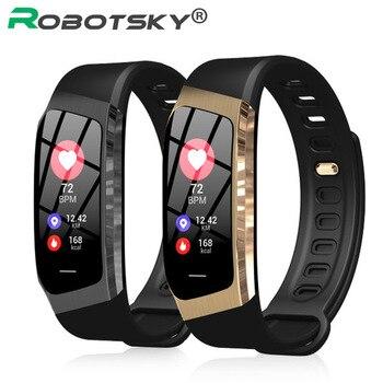 08ea7e09687f E18 Smart Band pantalla táctil a Color ip67 impermeable presión arterial  oxígeno Monitor de ritmo cardíaco pulsera deportiva Talk Band Mi 2 3