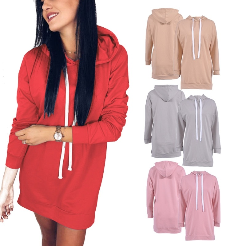 ZOGAA 2019 hot autumn and winter new 4 color round neck hooded loose long-sleeved  hoodie Casual Long comfort pullover size S-XL