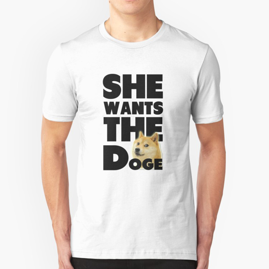 Funny Design Tees Shirt Funny She Wants The Doge Funny Dog Man Pre-Cotton Men Short Sleeve T Shirt Pop Adult Fun T-Shirts Male