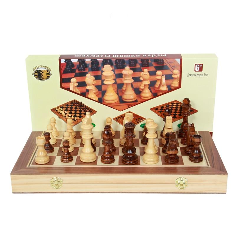 цена на BSTFAMLY wood chess set game, portable game of international chess, magnetic folding chessboard chess pieces wood, LA28