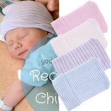 Шапка для новорожденных; однотонная; в полоску; с принтом; розовый; голубой цвет; Мягкая; для больниц; для девочек; шапки для новорожденных; реквизит для фотосессии; аксессуары для малышей