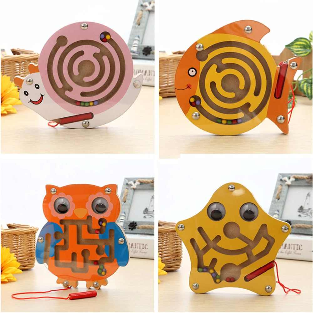 Baby Mental Intellectual Development Games Small Pen Kids Toy Baby Educational Maze Wooden Puzzle Animal Magnetic Maze Toys
